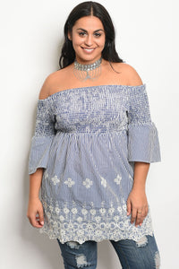Ladies fashion plus size 3/4 sleeve off the shoulder top with lace details-1XL-MY UPSCALE STORE