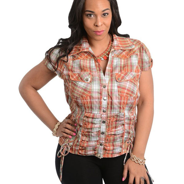 ORANGE TOP-Plus Sizes, Tops +-1XL-MY UPSCALE STORE