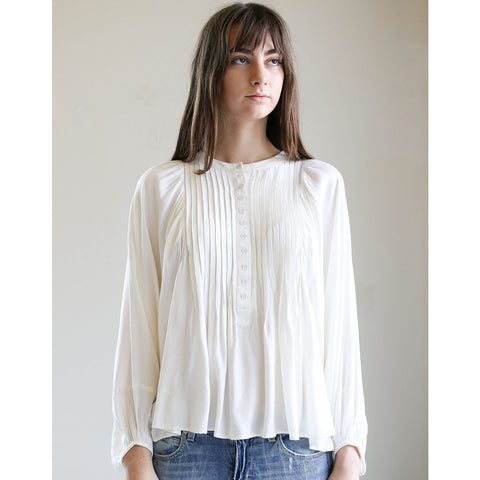 Apiece Apart Evi Pintuck Blouse Cream