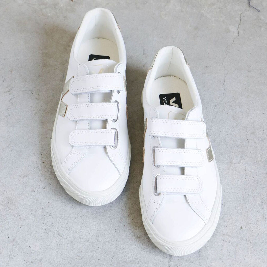 Veja 3-Lock Pierre Sneakers in White with Gold Logo