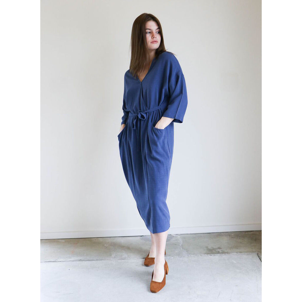 7115 By Szeki Pockets Midi Wrap Dress