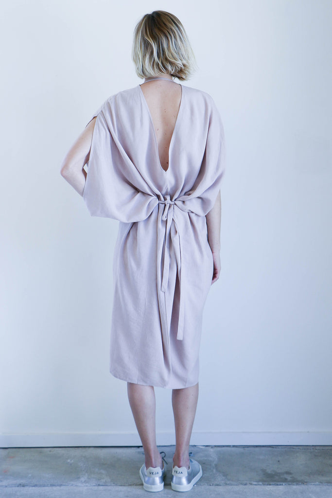 7115 By Szeki Signature Kimono Dress in Beige