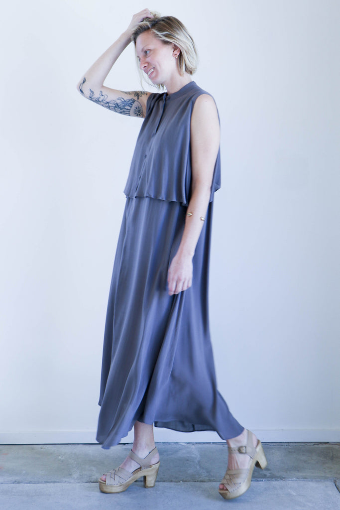 7115 By Szeki Sleeveless Layered Dress in Stone