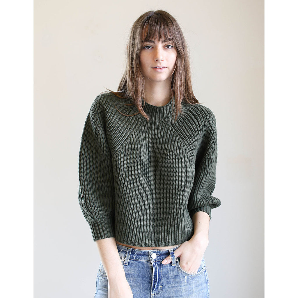 Apiece Apart Merel Funnel Neck Crop Military