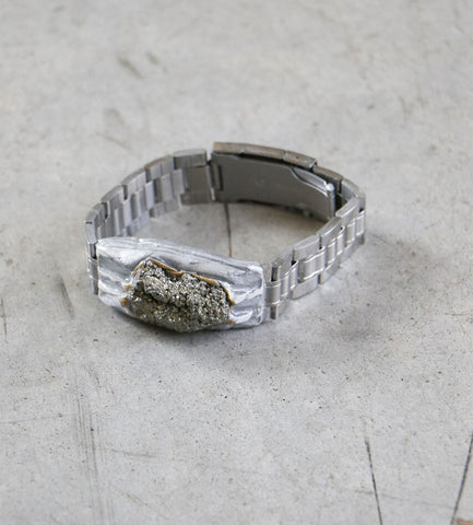 Adina Mills Time to Rock Pyrite Bracelet