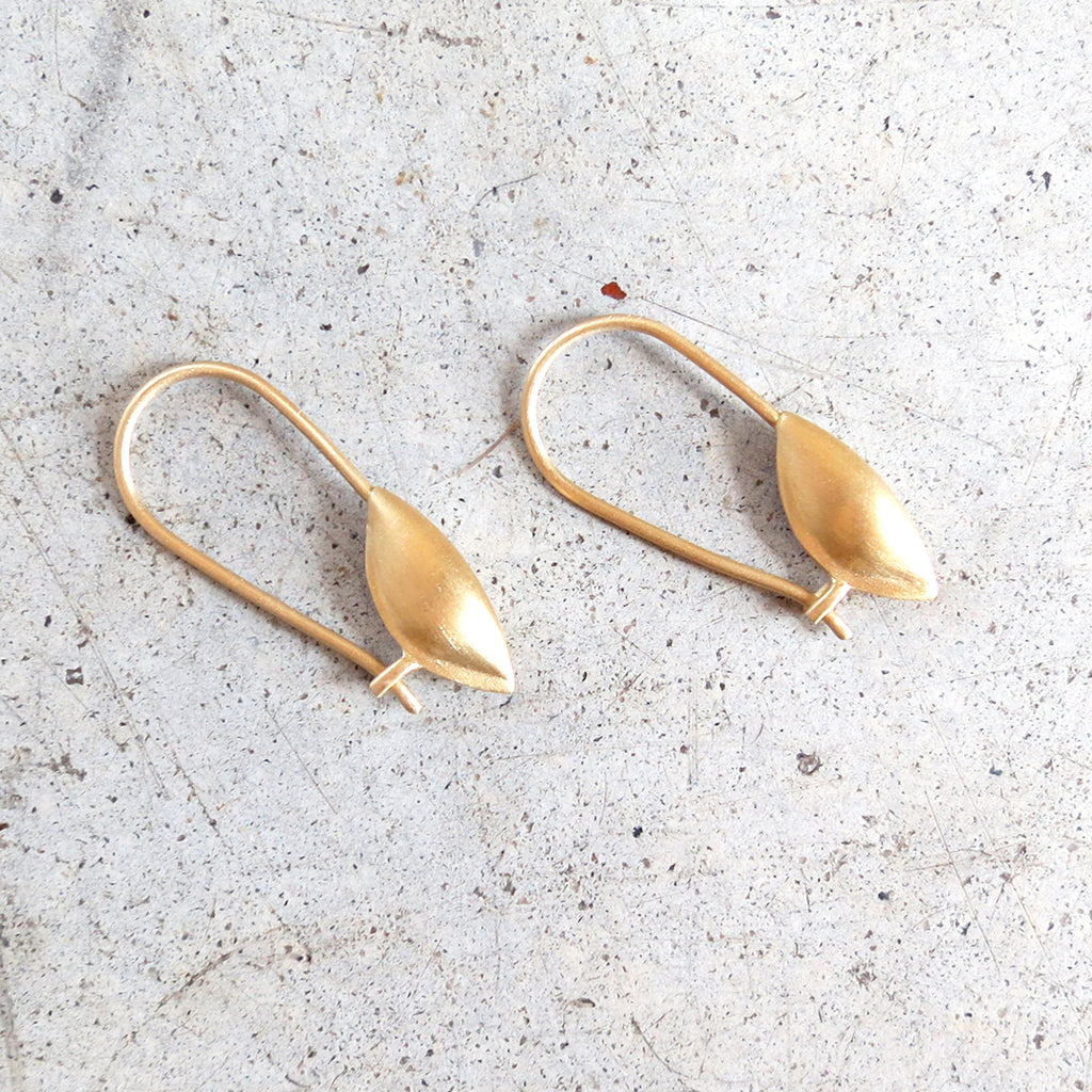 Agas & Tamar Seed Pod Earrings in 18k Gold