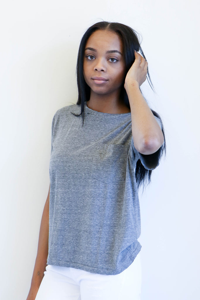 Amo Denim Tomboy Pocket Tee in Heather Grey