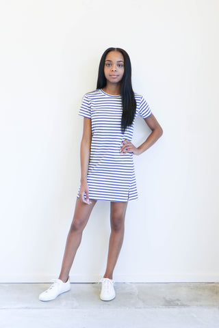 Amo Denim Twist Dress in Blue Sailor Stripe