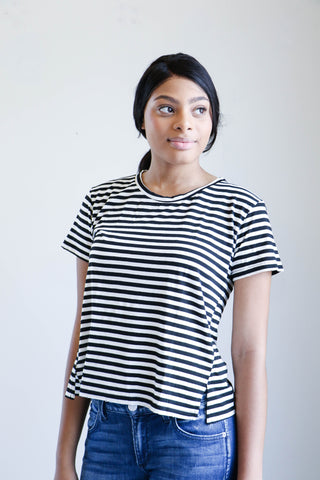 Amo Denim Twist Tee in Seaton Stripe