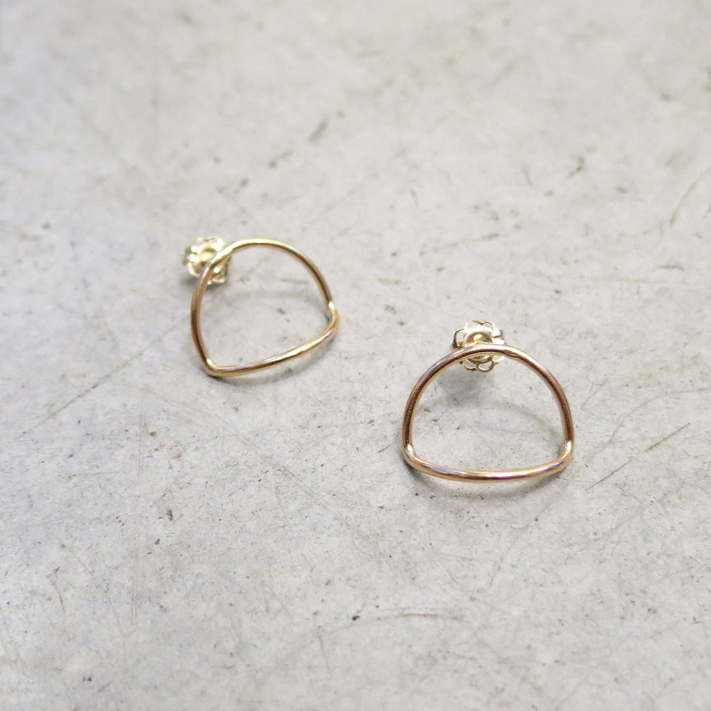Another Feather 14k Gold Arc Earrings
