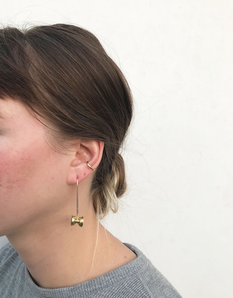 Another Feather Brass + Sterling Silver Pedestal Earrings