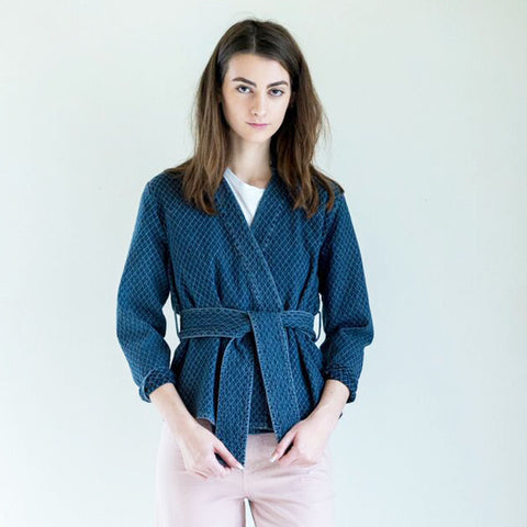 Apiece Apart Carina Wrap Jacket in Denim