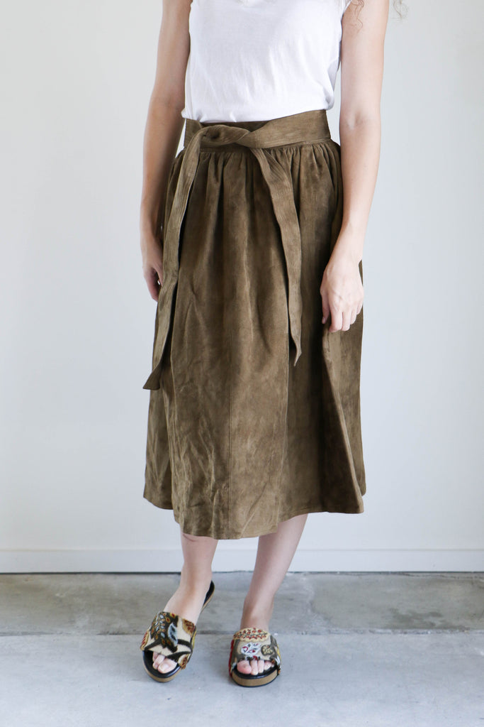 Apiece Apart Elsa Skirt in Nutmeg Suede