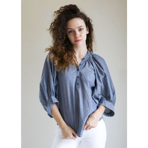 Apiece Apart Everlastings Balloon Sleeve Top in Chambray