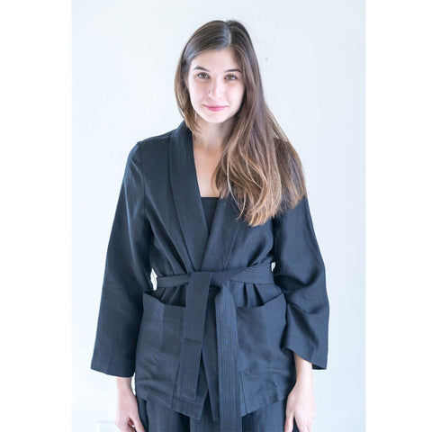 Apiece Apart Faye Wrap Jacket in Black