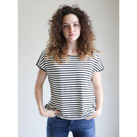 Apiece Apart Neem Tee in Black & White Stripe