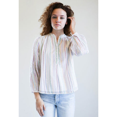 Apiece Apart Papyrus Ruffle Top in White Fez Stripe