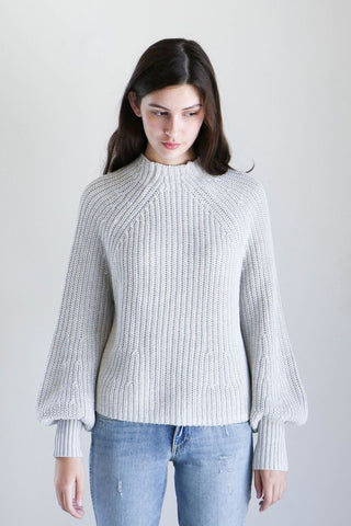 Apiece Apart Sequoia Mock Turtleneck Top in Grey Marl