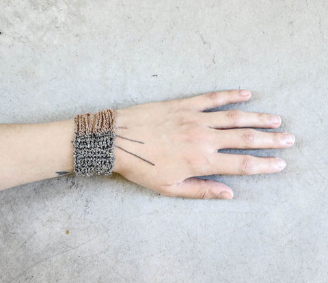 Arielle De Pinto Buxom Bracelet in Faded Silver + Rose Gold