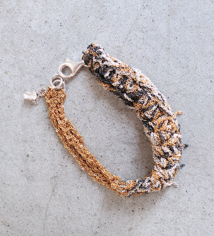 Arielle De Pinto Split Tennis Bracelet in Gold + Silver + Midnight