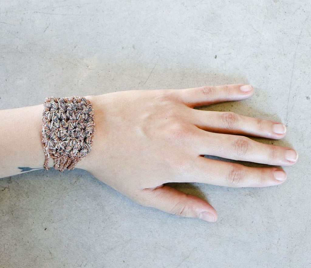 Arielle De Pinto Split Baroque Bracelet in Rose Gold + Silver + Spectrum