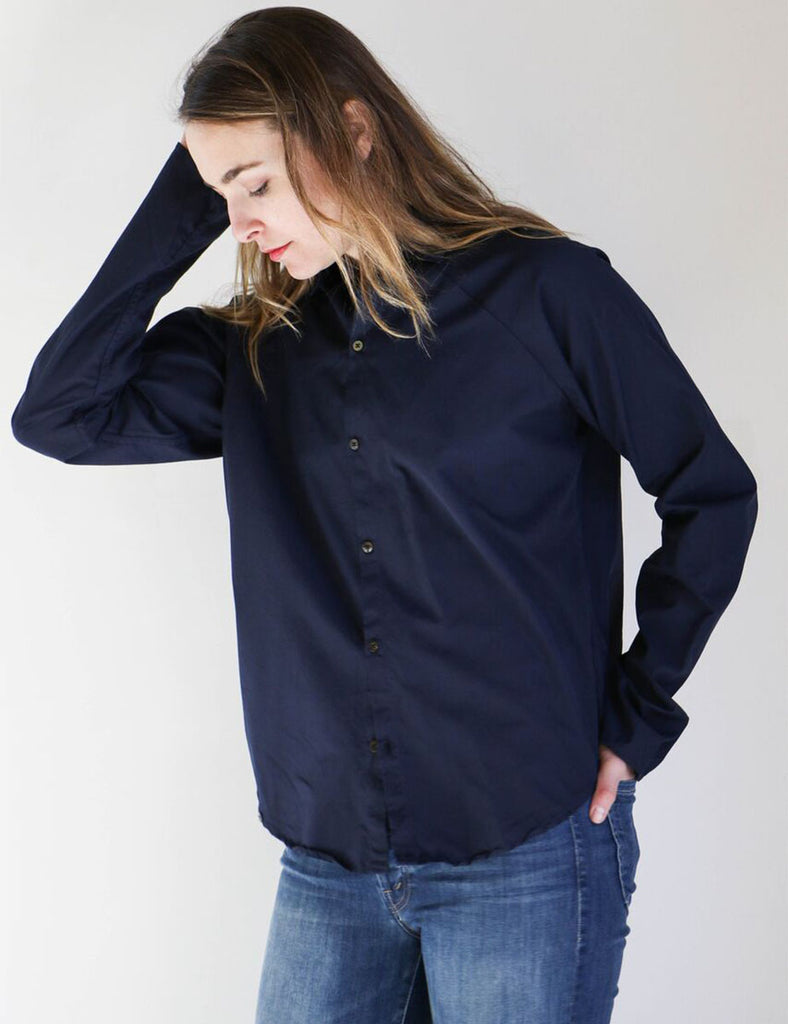 Pip-Squeak Chapeau Cotton Raglan Boy Shirt in Navy