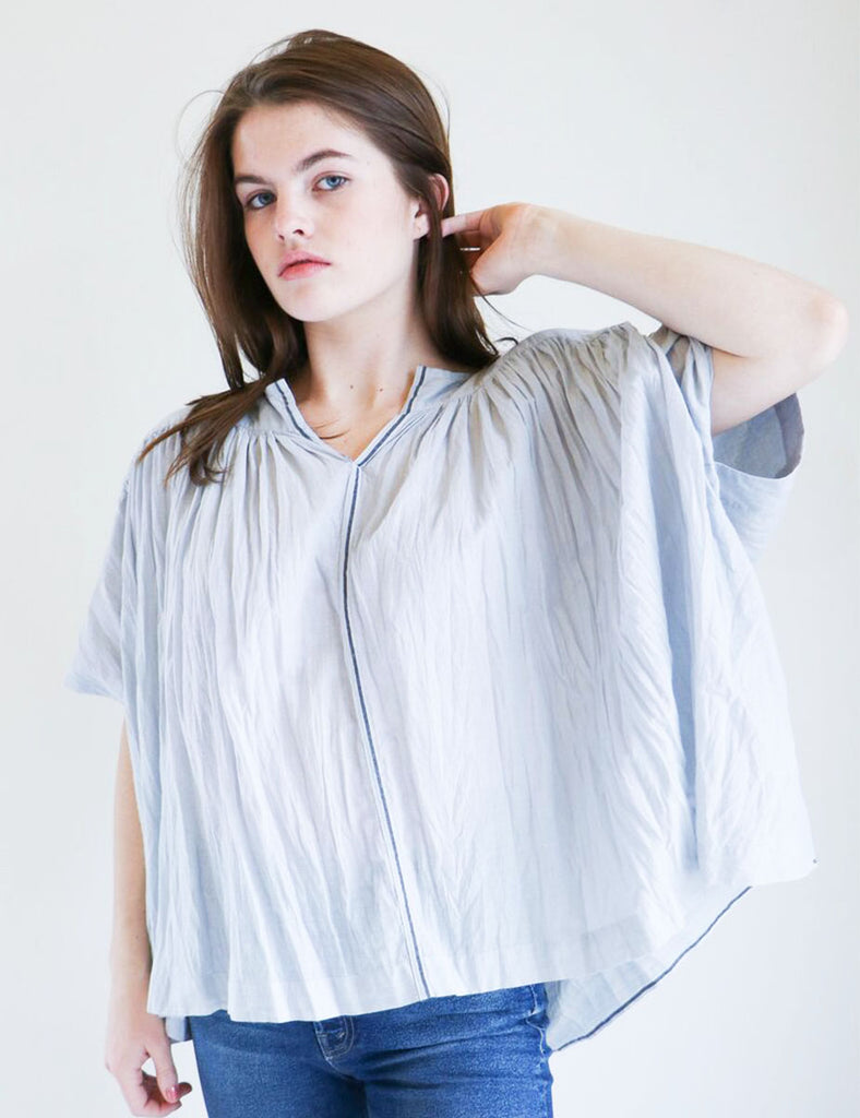 Pas de Calais Khadi Gathered Top in Ice Blue