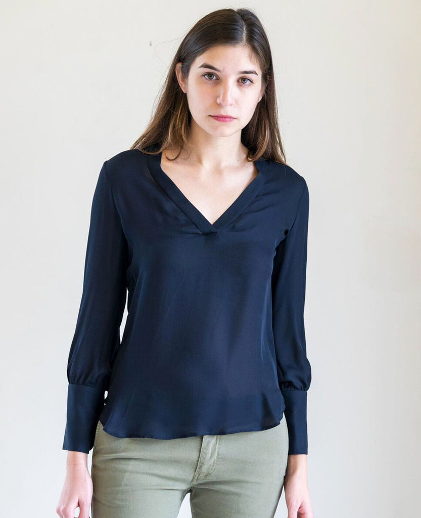 Nili Lotan Chloe Blouse in Navy