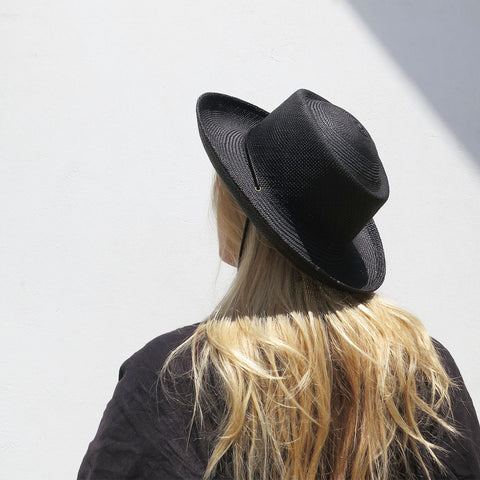 Clyde Gambler Hat in Black Straw
