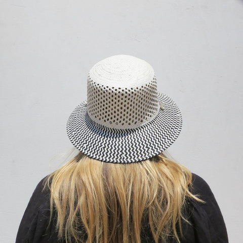 Clyde Toni Drawstring Hat in White + Grey Mesh