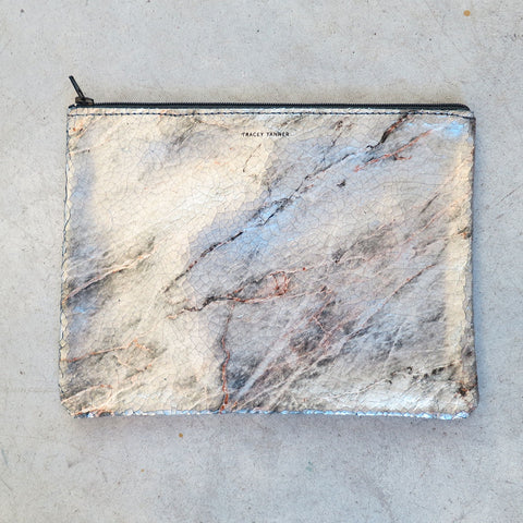 Tracey Tanner Large Flat Zip Pouch in Cool Marble