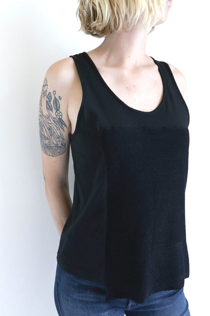 Correll Correll Knit Patch Tank in Black