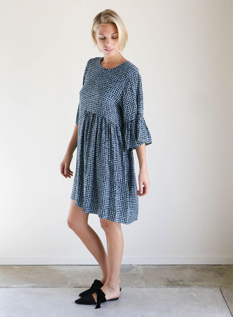 Correll Correll Silk Coco Dress in Grey + Black