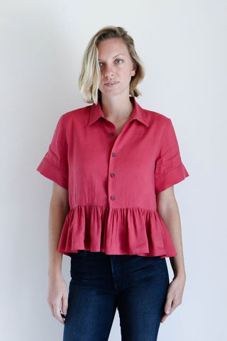 Creatures of Comfort Simone Top in Dark Pink