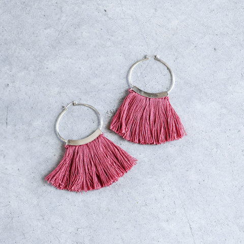 Erin Considine Mini Fringe Hoops in Coral
