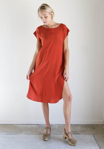Esby Kate Silk Dress in Tomato