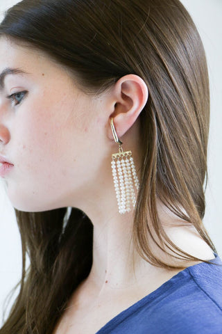 Faris Swing Earrings in Bronze + Pearl