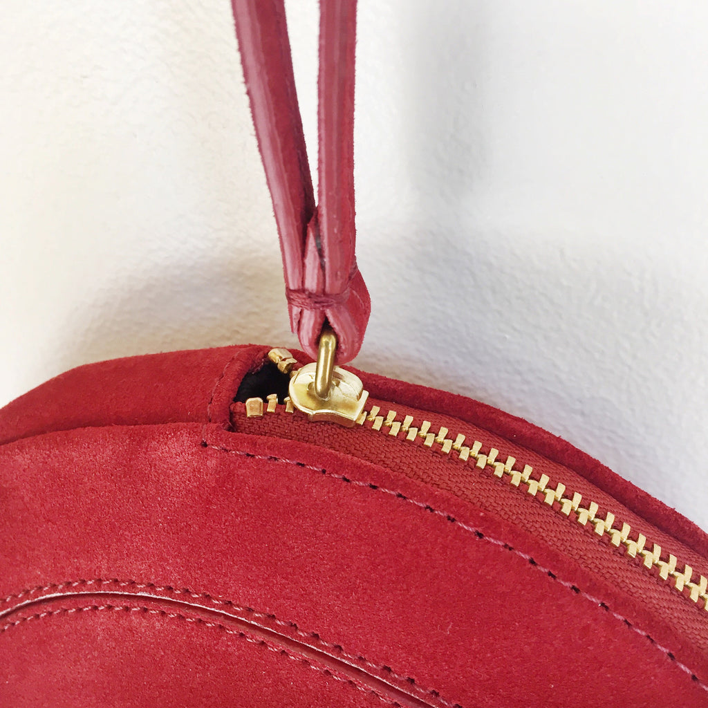 Jerome Dreyfuss Popoche O Bag in Rouge Scarlet Suede