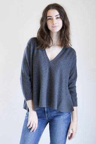 Inhabit Drapey V Sweater in Heath