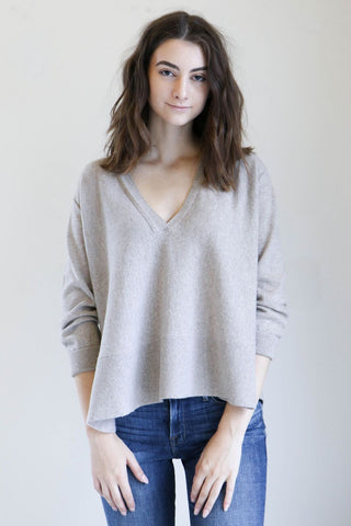 Inhabit Drapey V Sweater in Tusk