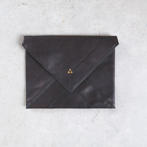Jerome Dreyfuss Popoche Envelope L in Noir Brass Lambskin