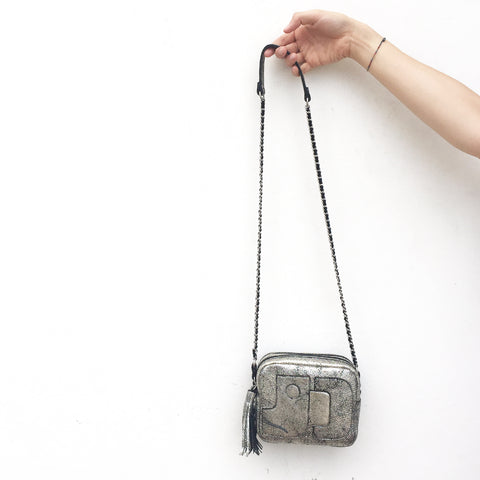 Jerome Dreyfuss Pascal Bag in Lamine Silver