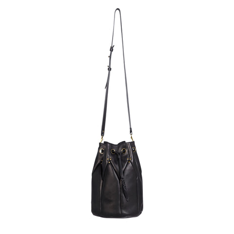Jerome Dreyfuss Large Popeye Bucket Bag in Black Lambskin
