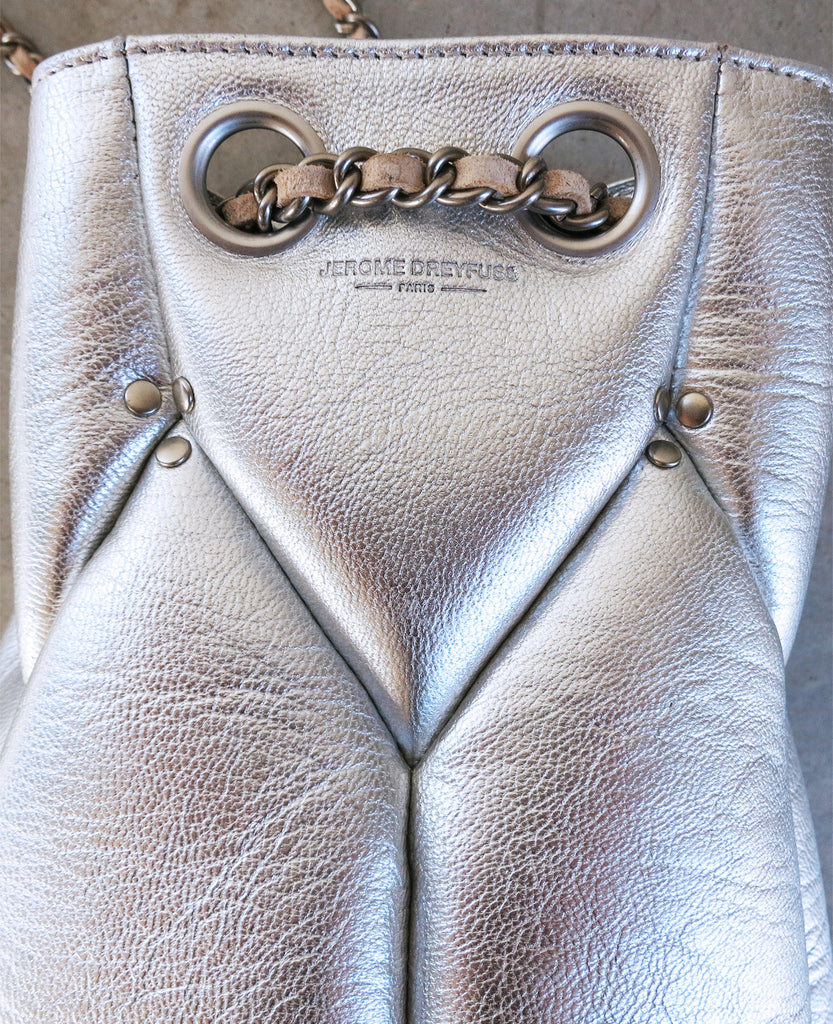Jerome Dreyfuss Popeye Bucket Bag in Silver Goatskin