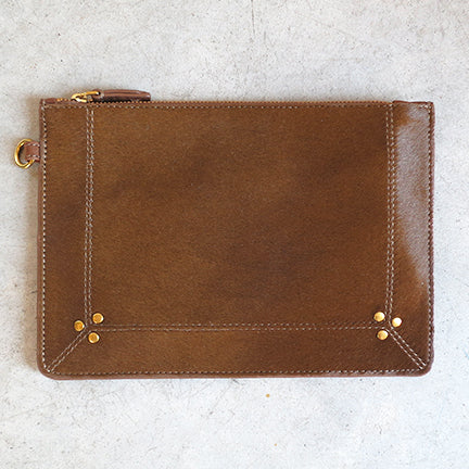 Jerome Dreyfuss Popoche M Clutch in Bronze Calfskin