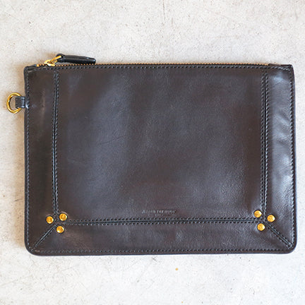 Jerome Dreyfuss Popoche M Clutch in Noir Brass Lambskin