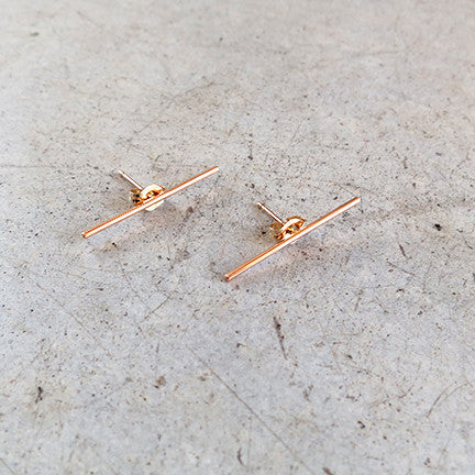 Kathleen Whitaker Stick Stud Earring 14k Rose Gold