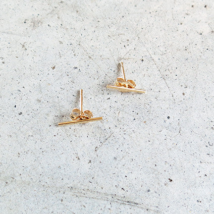 Kathleen Whitaker Staple Stud 14k Gold Earrings