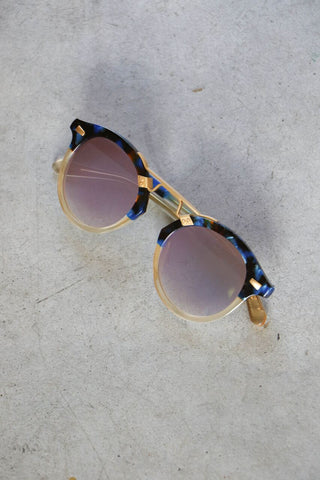 Krewe St. Louis II Sunglasses in Blue Steel to Champagne 24k