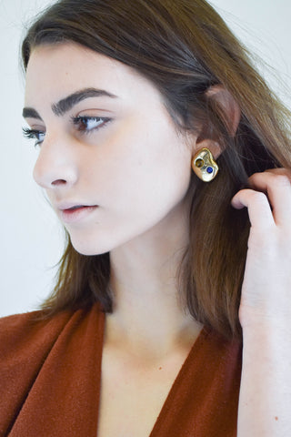 Leigh Miller Multistone Pebble Earrings in Brass